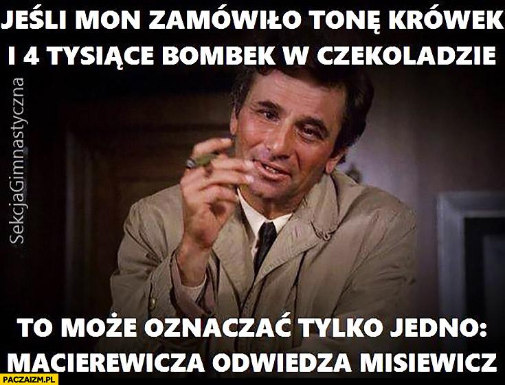 Jeśli MON zamówiło tonę krówek i 4 tysiące bombek w czekoladzie to może oznaczać tylko jedno Macierewicza odwiedza Misiewicz