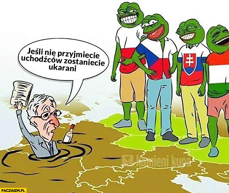 Jeśli nie przyjmiecie uchodźców zostaniecie ukarani. Juncker Polska Czechy Słowacja Węgry śmieją się