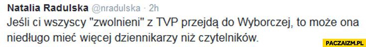 Jeśli wszyscy zwolnieni z TVP przejdą do Wyborczej będzie miała więcej dziennikarzy niż czytelników