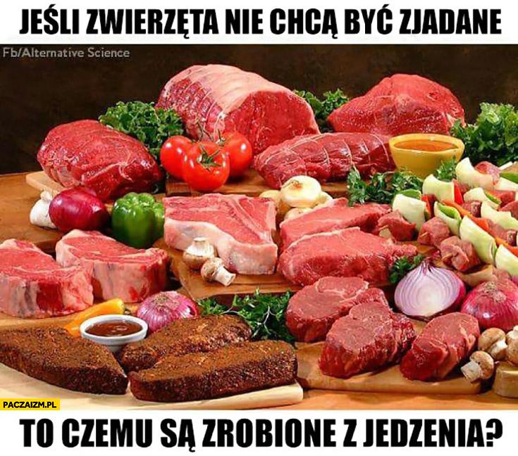 Jeśli zwierzęta nie chcą być zjadane to czemu są zrobione z jedzenia? Mięso
