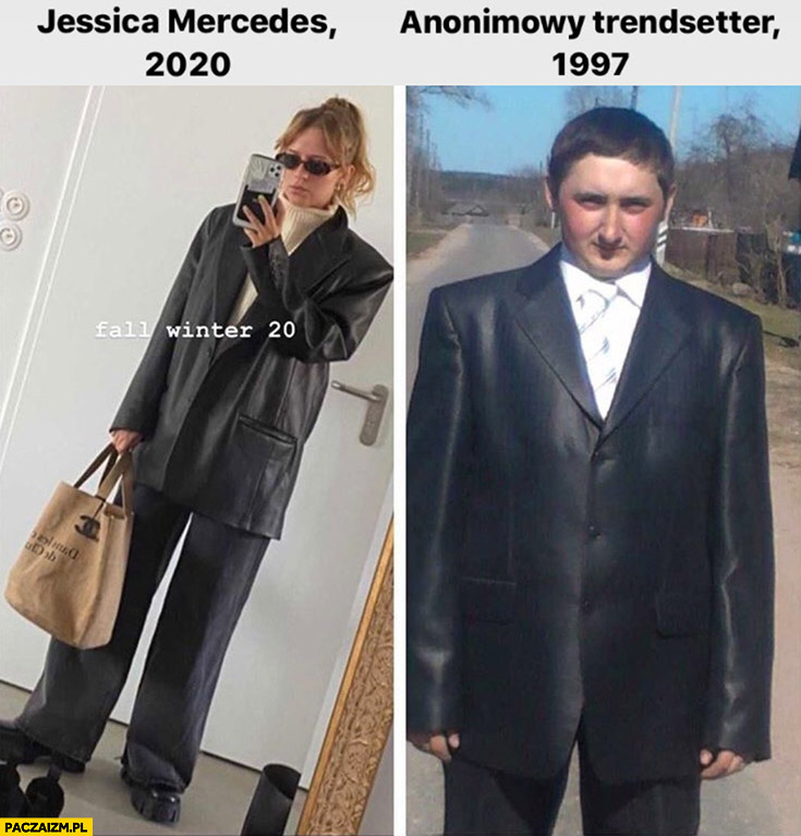 Jessica Mercedes 2020 vs anonimowy trendsetter 1997 garnitur człowiek pingwin