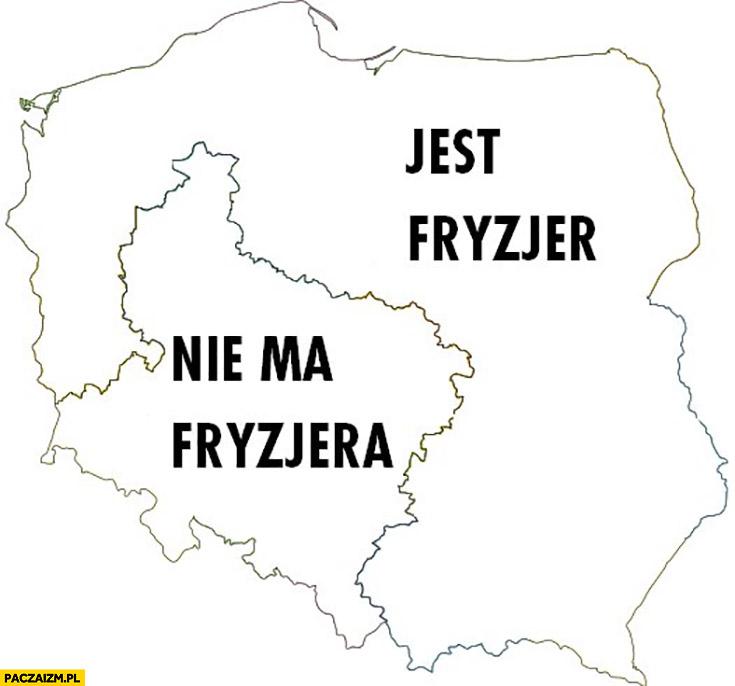 Jest fryzjer, nie ma fryzjera mapa Polski podział