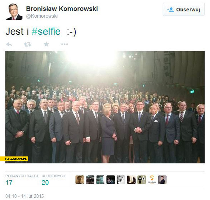 Jest i selfie Komorowski fail