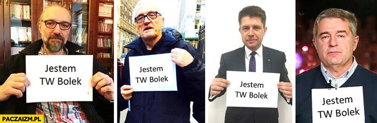 Jestem TW Bolek Kijowski Gross Petru Frasyniuk trzymają kartkę z napisem Wałęsa towarzysz