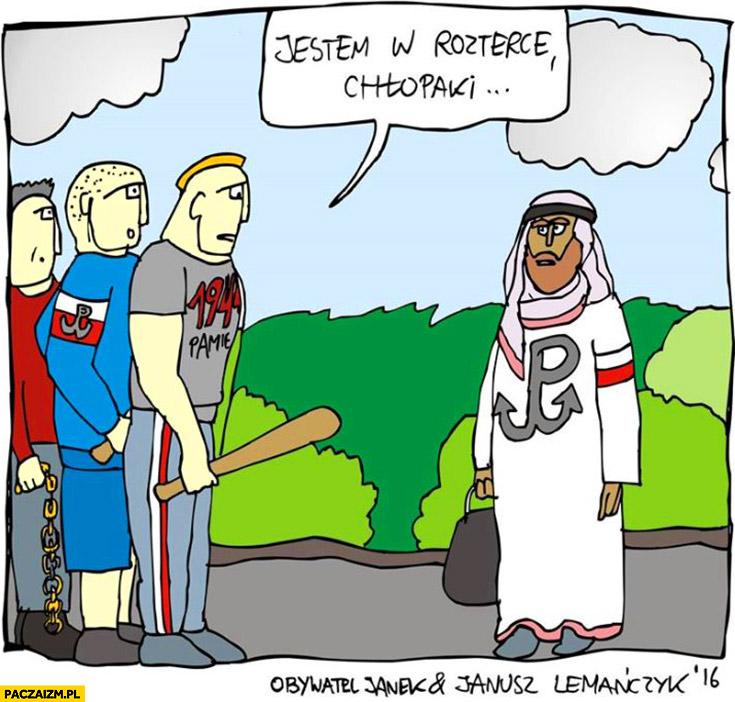 Jestem w rozterce chłopaki muzułmański imigrant z logo Polski Walczacej
