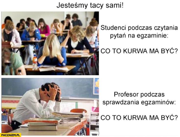 Jesteśmy tacy sami studenci podczas czytania pytań na egzaminie profesor podczas sprawdzania egzaminów