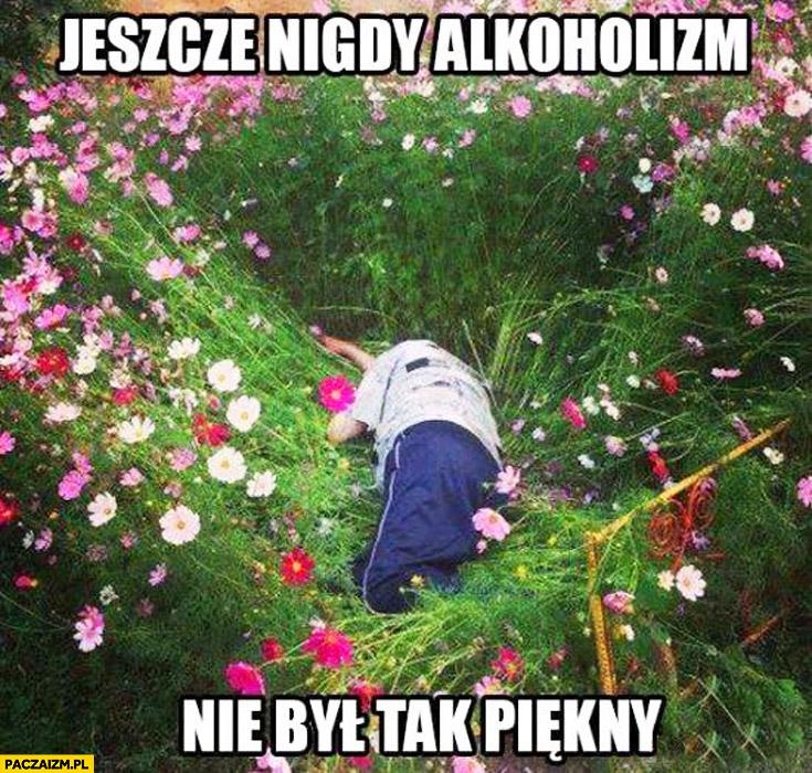 Jeszcze nigdy alkoholizm nie był tak piękny leży pijany w kwiatkach