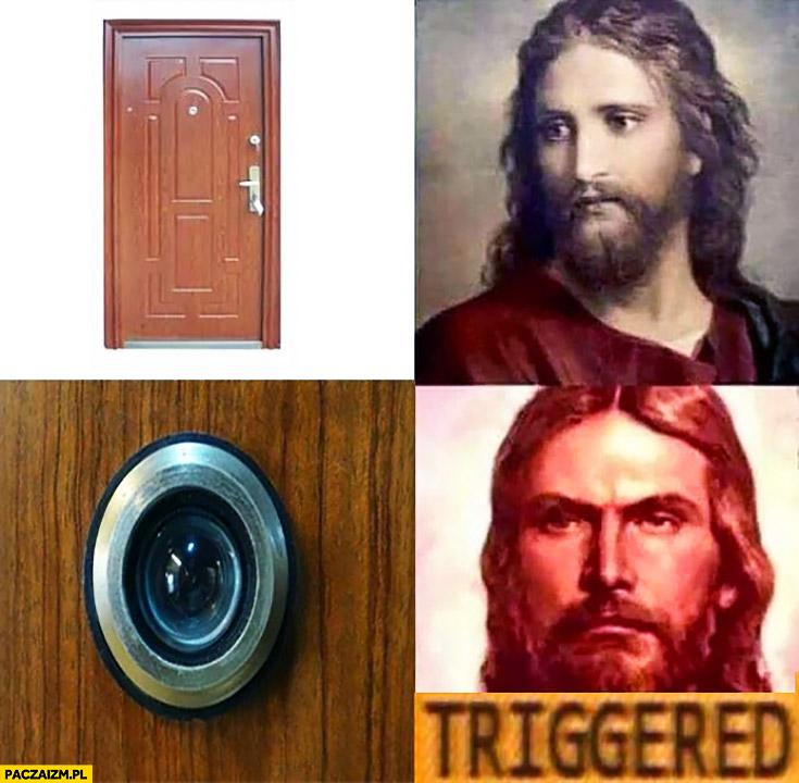 Jezus drzwi Judasz wizjer triggered