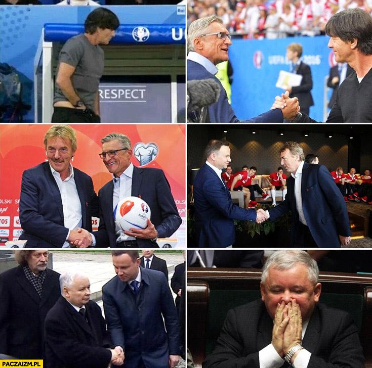Joachim Loew ręka w spodniach wita się z ludźmi potem Kaczyński to wącha