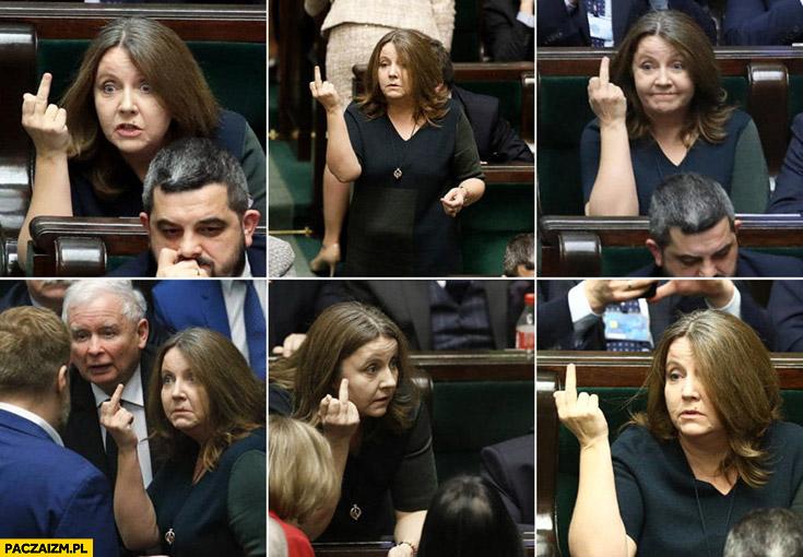Joanna Lichocka w sejmie pokazuje wszystkim środkowy palec różne ujęcia PiS