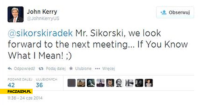 John Kerry Radek Sikorski if you know what I mean na twitterze