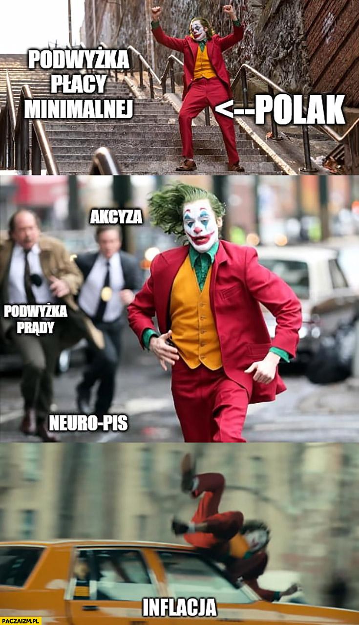 Joker Polak podwyżka płacy minimalnej tańczy cieszy się akcyza podwyżka prądu inflacja ucieka