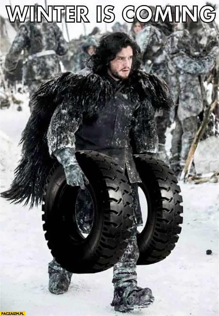 Jon Snow niesie opony winter is coming wymiana opon letnich na zimowe w aucie samochodzie