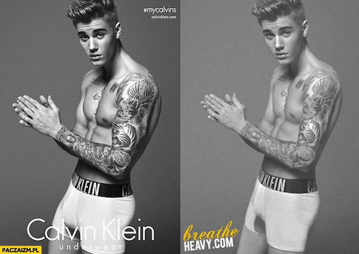 Justin Bieber Calvin Klein przed po photoshopie