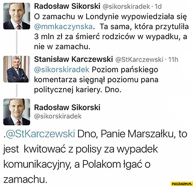 Kaczyńska przytuliła 3 mln zł za śmierć rodziców wypadku a nie zamachu.Dno to jest kwitować z polisy za wypadek komunikacyjny a łgać o zamachu Sikorski na twitterze