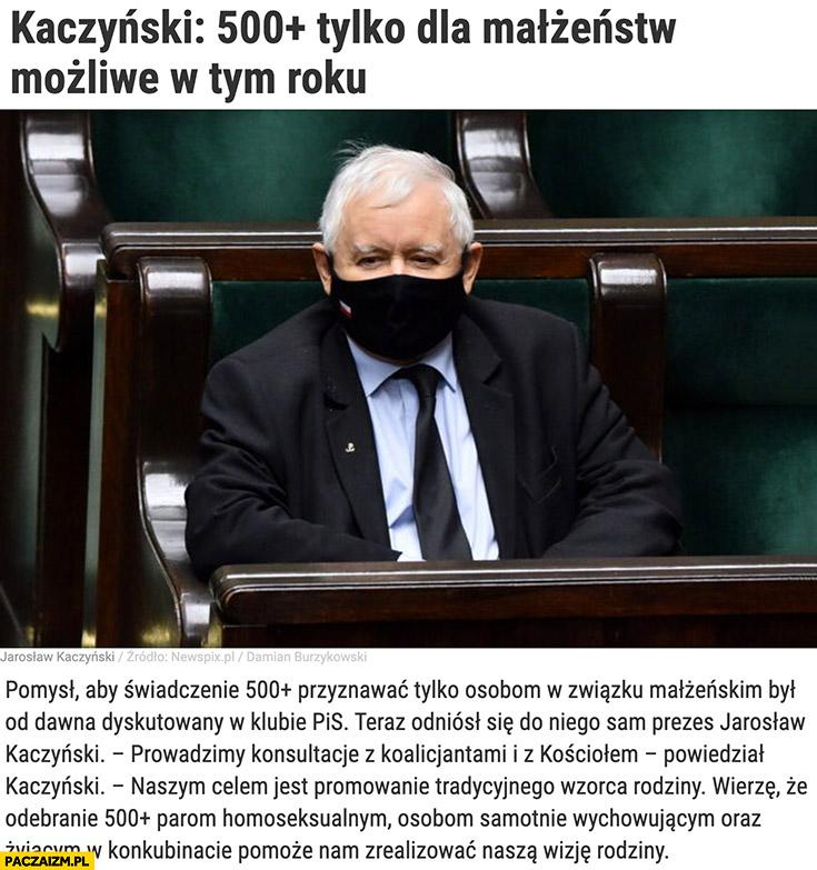 Kaczyński: 500+ plus tylko dla małżeństw możliwe w tym roku artykuł