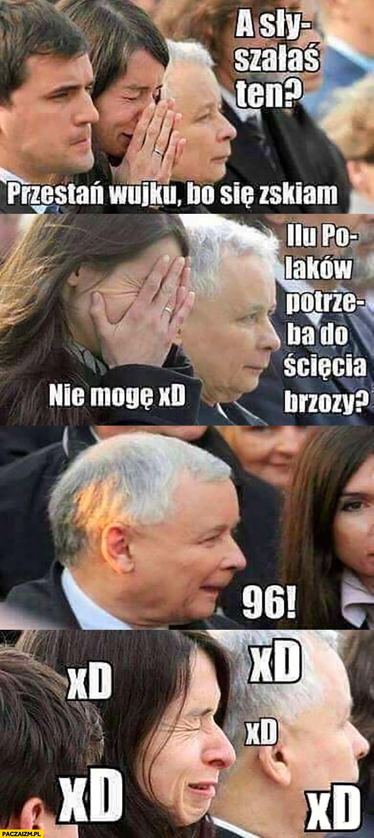 Kaczyński a słyszałaś ten, przestań wujku bo się zsikam, ilu Polaków potrzeba do ścięcia brzozy? 96 Marta Kaczyńska