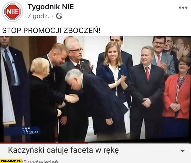 Kaczyński całuje faceta w rękę, stop promocji zboczeń