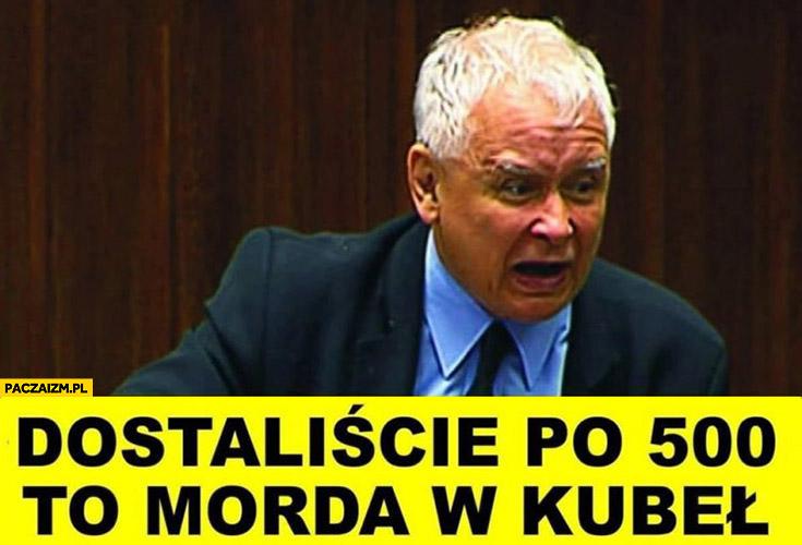 Kaczyński dostaliście po 500 to morda w kubeł