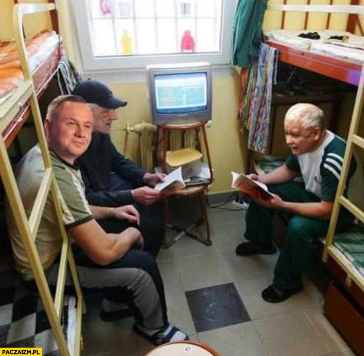 Kaczyński Duda Terlecki w więzieniu przeróbka photoshop