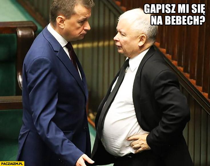 Kaczyński gapisz mi się na bebech? Chłopaki z baraków Błaszczak w sejmie