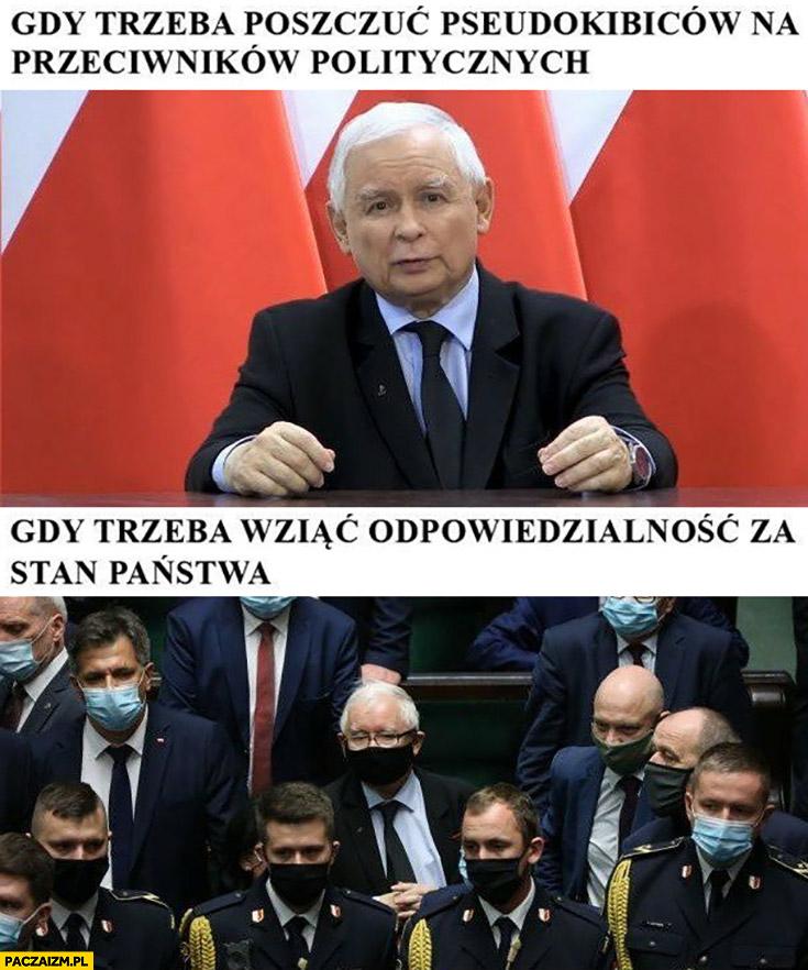 Kaczyński gdy trzeba poszczuć pseudokibiców na przeciwników politycznych vs gdy trzeba wziąć odpowiedzialność za stan państwa