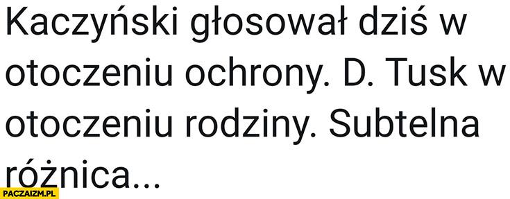 Kaczyński głosował w otoczeniu ochrony a Tusk w otoczeniu rodziny subtelna różnica
