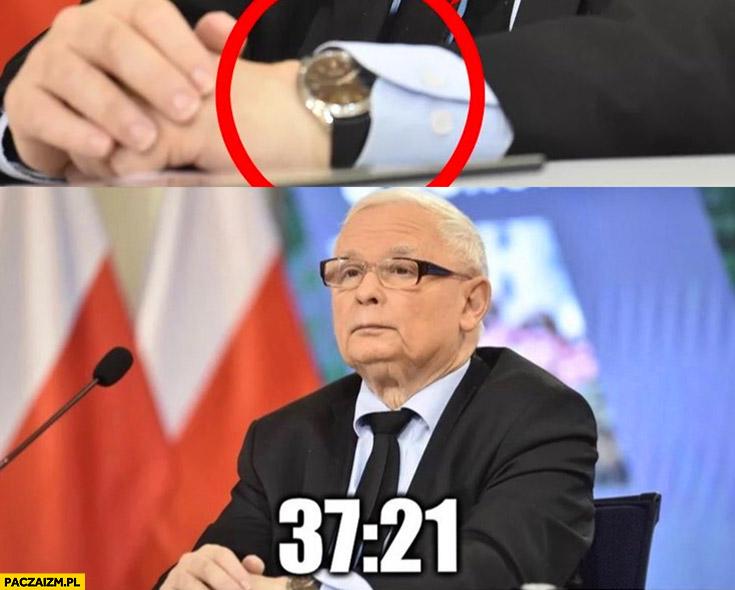 Kaczyński godzina 37:21 zegarek założony na odwrót