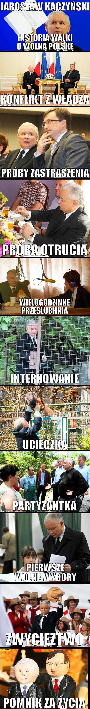 Kaczyński historia walki o wolną Polskę: próba otrucia, wielogodzinne, przesłuchania, internowanie, ucieczka, partyzantka