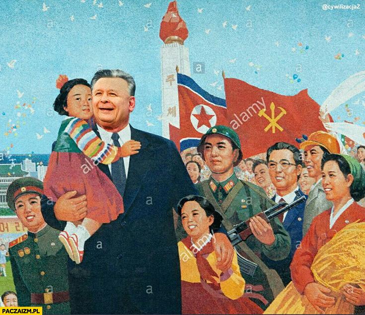 Kaczyński jak przywodna Korei Północnej przeróbka photoshop
