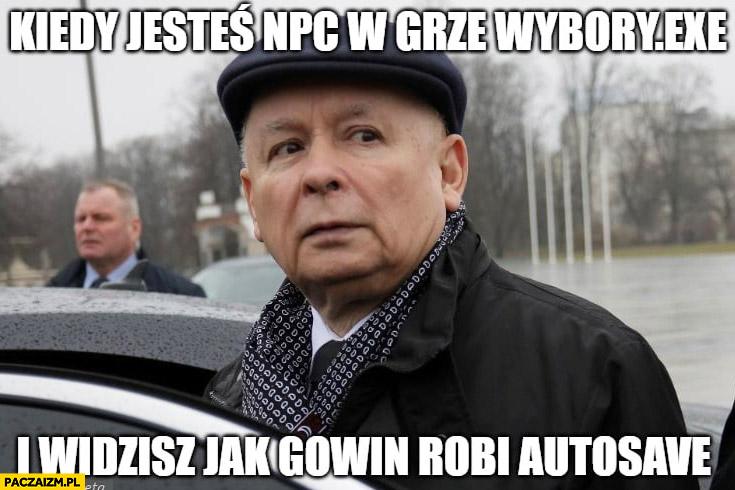 Kaczyński kiedy jesteś NPC w grze wybory i widzisz jak Gowin robi autosave