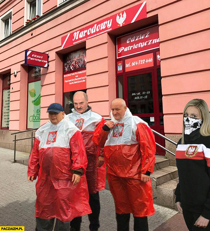Kaczyński Łukaszenka sklep narodowy płaszcz kurtka peleryna przeciwdeszczowa flaga polski