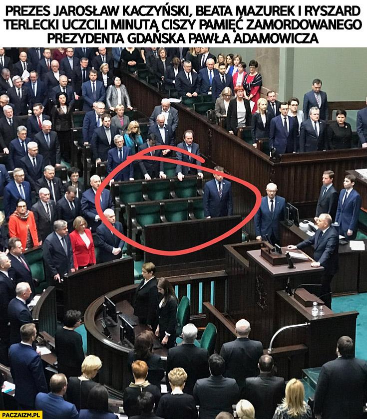 Kaczyński, Mazurek i Terlecki z PiS uczcili minutą ciszy pamięć Adamowicza nie było ich w sejmie
