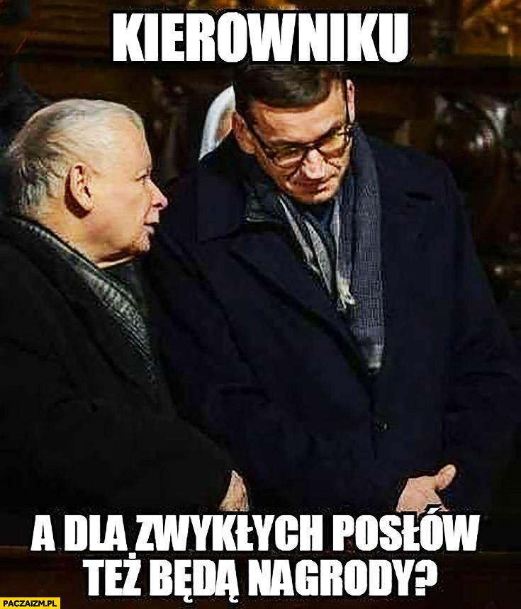 Kaczyński Morawiecki kierowniku a dla zwykłych posłów też będą nagrody? PiS