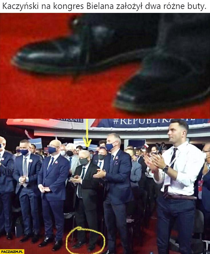 Kaczyński na kongres Bielana założył dwa różne buty