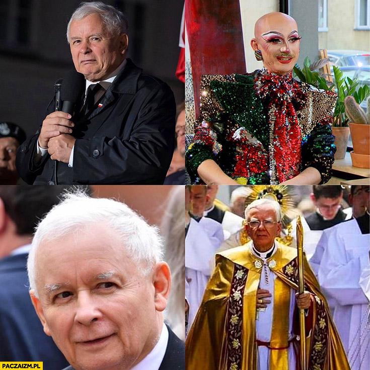 Kaczyński nie chce LGBT woli księdza dziwny wygląd ubranie