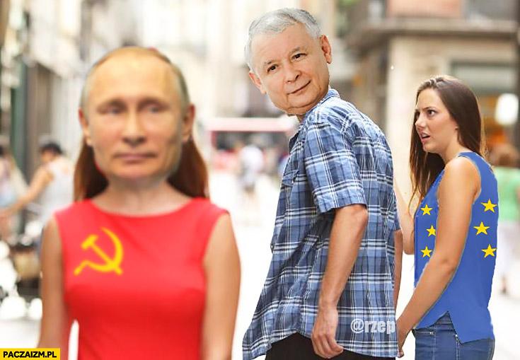 Kaczyński nie chce Unii Europejskiej ogląda się za Putinem zdziwiona dziewczyna