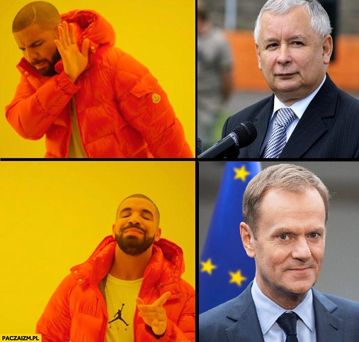 Kaczyński nie, Tusk tak Drake mem