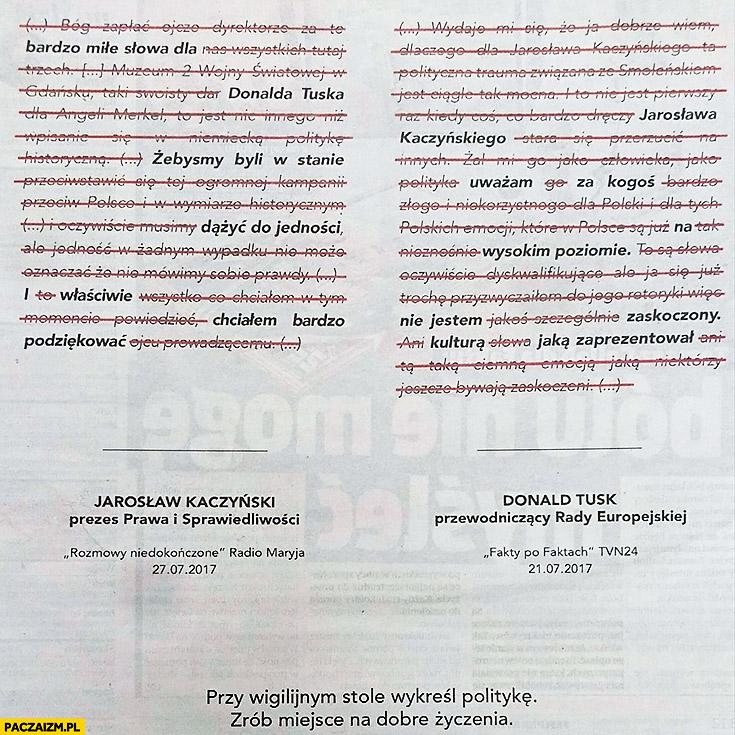 Kaczyński o Tusku Tusk o Kaczyńskim powykreślane. Fakt: przy wigilijnym stole wykreśl politykę, zrób miejsce na życzenia