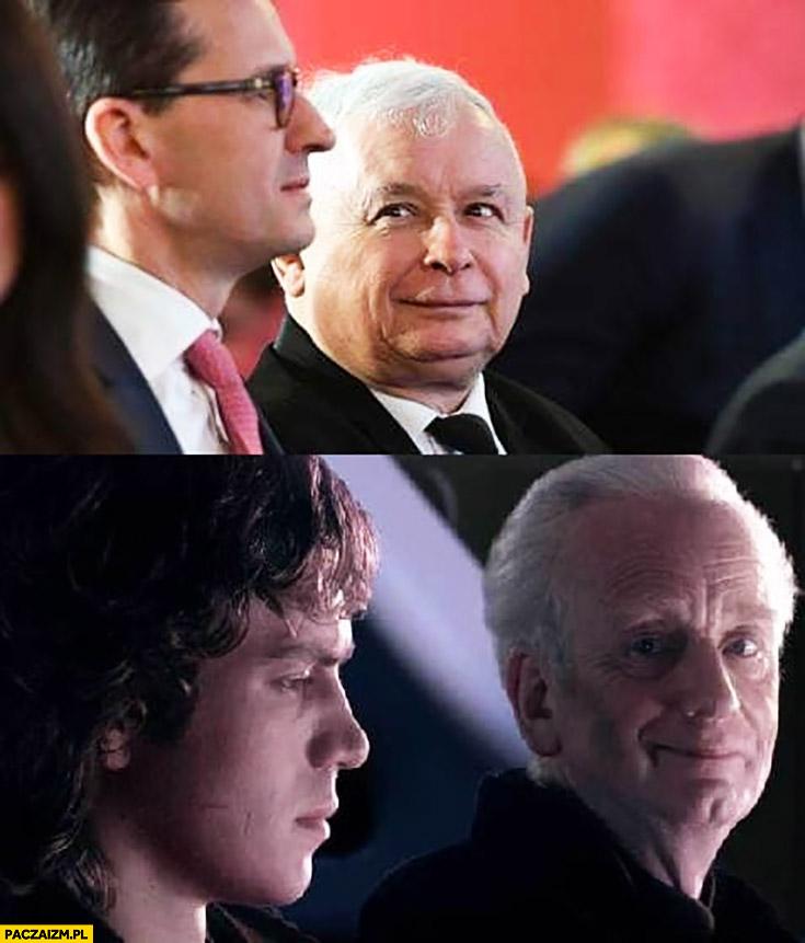 Kaczyński patrzy na Morawieckiego jak Imperator na Anakina