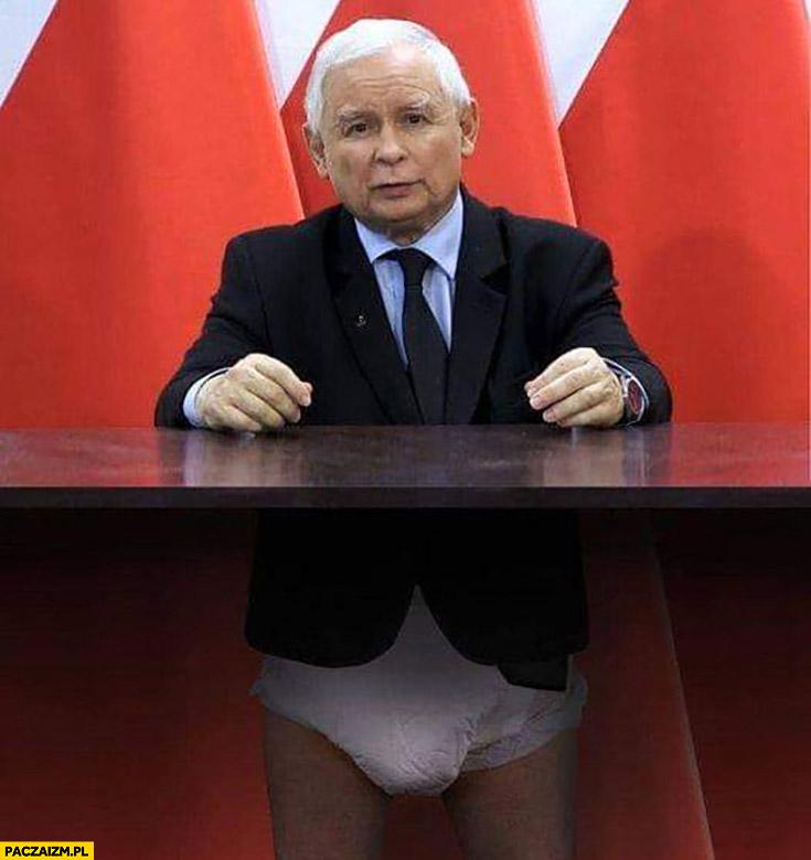 Kaczyński pielucha pod stołem cały strój przeróbka