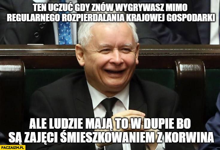 Kaczyński PiS gdy znów wygrywasz mimo regularnego rozpierdzielania gospodarki ale ludzie maja to w dupie bo śmieszkują z Korwina