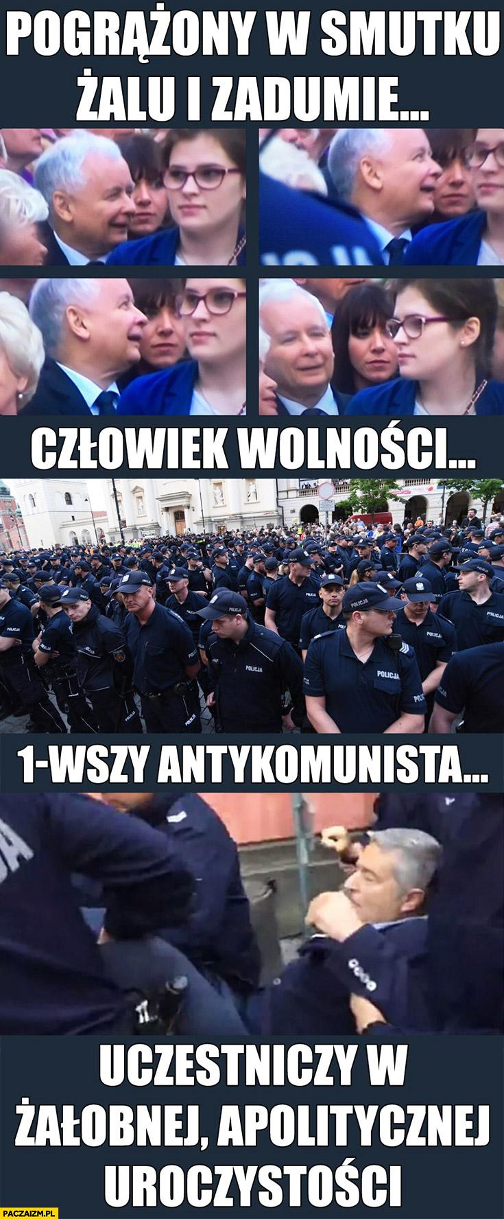 Kaczyński pogrążony w smutku, żalu i zadumie. Miesięcznica Smoleńska Frasyniuk człowiek wolności, pierwszy antykomunista uczestniczy w żałobnej, apolitycznej uroczystości policja go wynosi