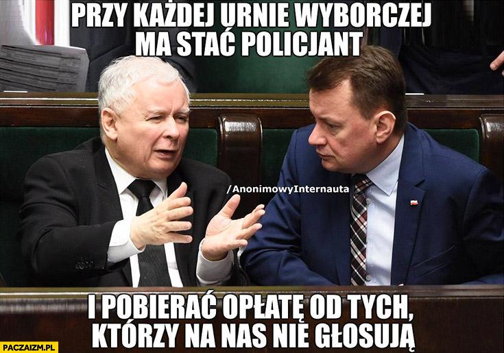 Kaczyński przy każdej urnie wyborczej ma stać policjant i pobierać opłatę od tych którzy na nas nie głosują Anonimowy Internauta