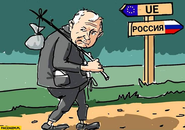 Kaczyński rysunek kierunek na Rosję zamiast na unię europejską