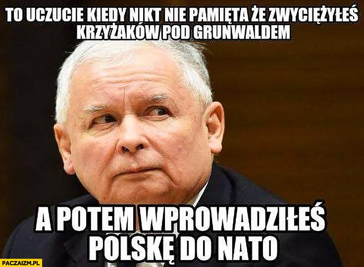 Kaczyński to uczucie kiedy nie pamięta, że zwyciężyłeś krzyżaków pod Grunwaldem a potem wprowadzałeś Polskę do NATO