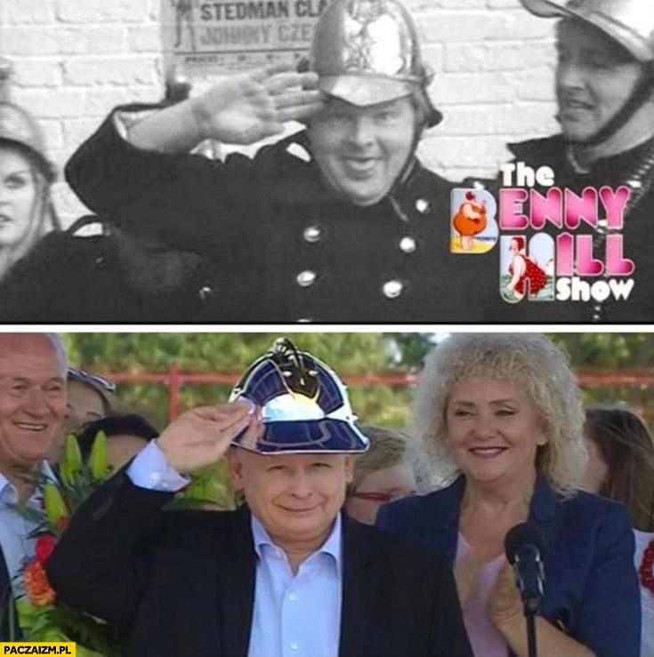 Kaczyński w hełmie jak Benny Hill