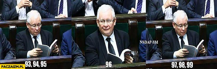 Kaczyński w sejmie czyta liczby przy 96 się uśmiecha Smoleńsk