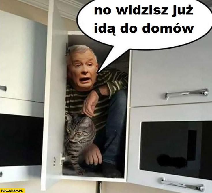 Kaczyński w szafie z kotem no widzisz już idą do domów
