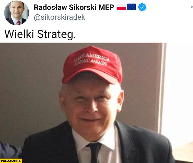 Kaczyński wielki strateg czapka make America great again